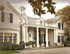 home exteriors, modern interior design, bay windows, column, classic white, alcove, house colors, dream houses, white brick