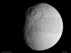 Mimas, a moon of Saturn.  #space #planetary #exploration