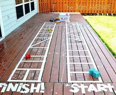Tape can also be used to create a fun outdoor board game.