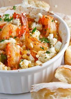 Shrimp Saganaki! Greek-baked Shrimp with Feta.!!.