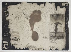 """Horst Janssen """"Annettechen...(Annette with an umbrella and foot imprint)"""", 1986 Etching and aquatint printed in dark brown and red color on yellowish Japan paper"""