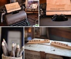 words of wisdom. word of wisdom, guest books, scrabble tiles, vintage typewriters, the bride, rustic weddings, guestbook, guest book table, scrabble letters