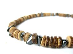 Quicksilver - mens wood and hematite surfer necklace :)