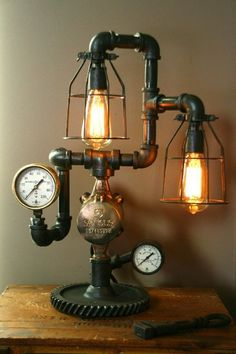 Lamp Light Industrial Art Machine Age Salvage Steam Guage
