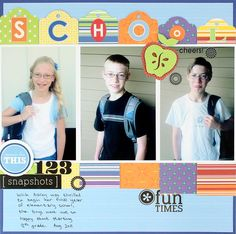 Back to School Cheerful Scrapbooking Layout from Creative Memories  http://www.creativememories.com