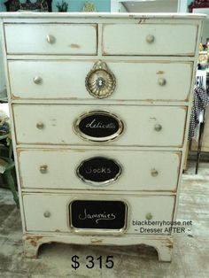Blackberry House blog retail shop projects and painted furniture ~ love the silver trays painted with chalk paint as labels for the drawers!