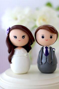 Personalized custom wedding cake topper kokeshi figrurines. ❀❀❀  ADD #diy http://www.customweddingprintables.com