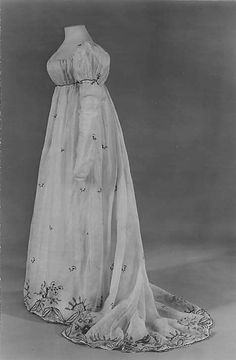 Dress, ca. 1810, French cotton silk, embroidered