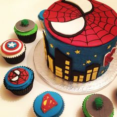 comic birthday, hulk fist for cake, spider man birthday cake, regular cake, cupcak idea, spiderman birthday cakes, marvel cupcak, birthday ideas