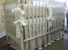 Oatmeal and Cream Washed Medium Weight Linen Crib Bedding-1 Ruffled Bumpers and 1 Ruffled Crib Skirt; Etsy.com