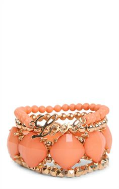 Deb Shops Set of Four Stretch Bracelets with Stones, Beads, and Love