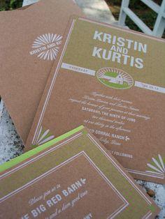 invite farmer market, farm wedding, invit idea, farmers market, color, kraft paper, wedding invitations, papers, themed weddings