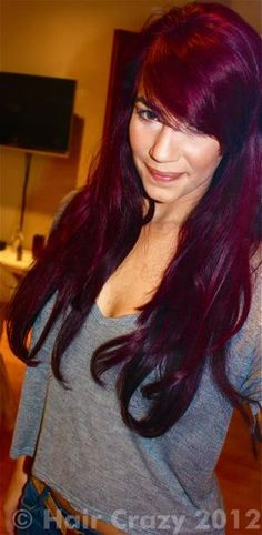 purple red hair. style is kinda what im going for in the long run too! grow, hair!!