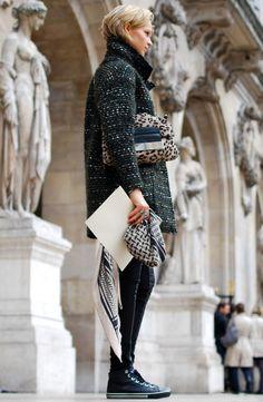 Tweed coat sneakers