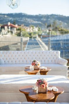 A simple and gorgeous seaside cocktail hour at Scripps Forum.  Design by Alchemy Fine Events, Flowers by Isari Flower Studio