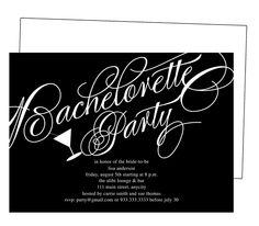 Printable DIY Bachelorette Party Invitations Templates: Classical Bachelorette Party Invitation Template. Classic black and white elegant script with martini glass