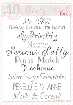 The Best Girly-Girl Fonts
