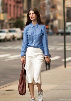 denim chambray shirt + white pencil skirt