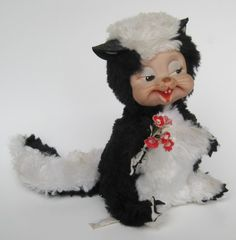 Vintage 50s Rushton Rubber Face Baby Skunk Toy Stuffed Animal | eBay