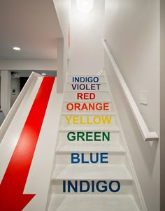 A nice, fun way to add color to a space: painting the staircase.