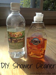 Behold the power of vinegar:    How to Make Homemade Shower Cleaner  1.  In a spray bottle, mix half white vinegar and half Dawn  2. Spray all over the shower and let sit for two hours  3. Wipe shower clean!