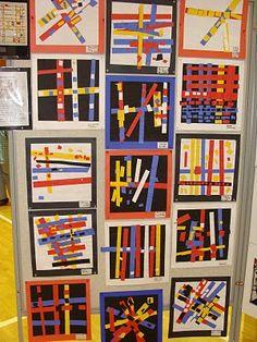 (Piet) Mondrian Primary Color collages (done with kindergarten)