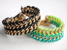 diy fashion, bracelets, chains, craft idea, doubl chain, diy bracelet, lanyards, jewelri, chain bracelet