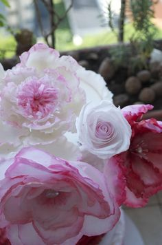 Ruffle pink cake with rice paper flowers