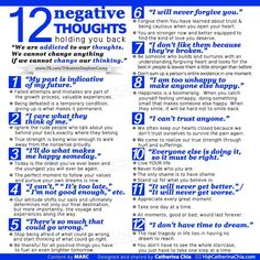 12 negative thought holding you back - 1. My past is indicative of my future; 2. I care what they think of me; 3. I'll do what makes me happy someday; 4. I can't, It's too late, I'm not good enough; 5. There's so much that could go wrong; 6. I will never forgive you; 7. I don't like them because they're broken, 8. I am too unhappy to make anyone else happy; 9. I can't trust anyone; 10. Everyone else is doing it, so it must be right; 11. It will never get better; 12. I don't have time to dream.