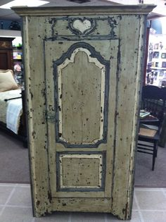 Gorgeous Antique French Painted Bonnetiere Cabinet