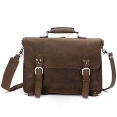 Men's Vintage Handmade Leather Briefcase / Satchel / Travel Bag - Backpack / Messenger