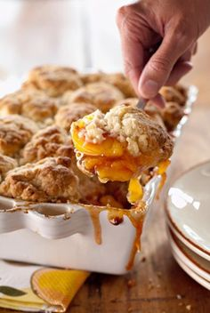 Peach and Cinnamon Cobbler This was, by far, the best cobbler I have ever eaten! Just be sure to use a large pan or have a cookie sheet under it as mine almost started a fire when it all ran over! From Paula Deen and sons.