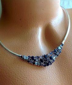 "Sapphire Necklace Tanzanite Aquamarine 18"" Silver Omega Choker Multi Gemstone"