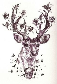 so, more discreet, less defined skull, with a tigers head roaring above it, all cohesively blending in as the neck of the deer with beautiful flowers that are actually weeds.