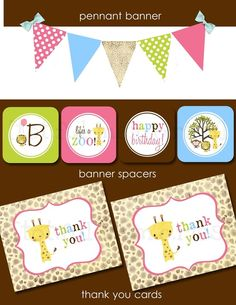 Zoo party printable cute colors