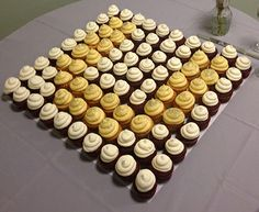 A closeup of the monogram wedding cupcake display at Anthony's and Nicole's wedding in Charleston, SC ... the cupcakes were darling and the bride and groom were cute as a button! #WeddingCupcakes #CupcakeDownSouth