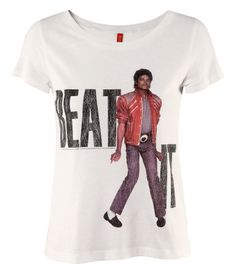 """Michael Jackson Vintage Style """"Beat It"""" White T-Shirt from H."""