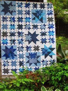 color blue, quilt inspir, star quilts, quilt idea, white star