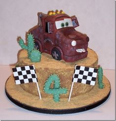 Tow Mater Cake - Love the graham cracker crumb frosting!