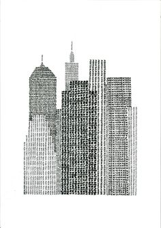 New York Typographic Art Print / handwritten by Yantree. #Travel #NYC #Skyline