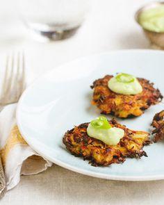 #Paleo Kohlrabi Carrot Fritters w/ Avocado Cream Sauce (Use coconut oil)