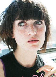 short hair, bangs