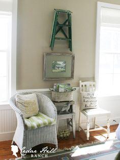 Using a #vintage ladder for decor. #homedecor