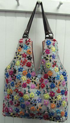 repurposed sweaters   Wild Flowers Repurposed Sweater Bag by helenshandbags on Etsy