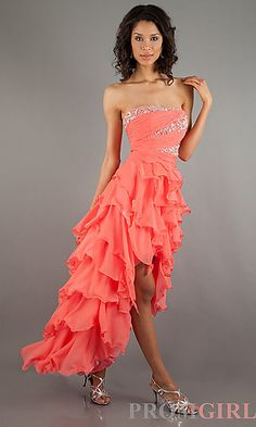 Strapless High Low Ruffle Dress at PromGirl.com