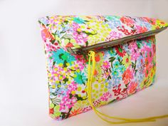 Clutch purse Fabric Neon colors Flower pattern by byMART on Etsy