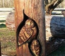 carved owls #tree #owl #carving #wood
