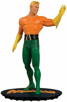 """DC Chronicles: Aquaman Statue by Diamond Comics Distributors. $72.98. Cold-cast, hand-painted porcelain. Sculpted by Tim Bruckner. Stands 7"""" high. The original depictions of DC Comics' classic characters are recalled in the DC Chronicles statue line. Retro-style base features retro lettering and logo. From the Manufacturer                Sculpted by Tim Bruckner.  The King of the Seven Seas is the third statue in a series created to capture the original depictions of..."""