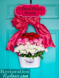 3-Tiered Flower Wreath - Restoration Redoux http://www.restorationredoux.com/?p=7822 burlap wreaths, 3tier flower, craft, flower wreath, restor redoux, flower baskets, door decor, flowers, summer wreath