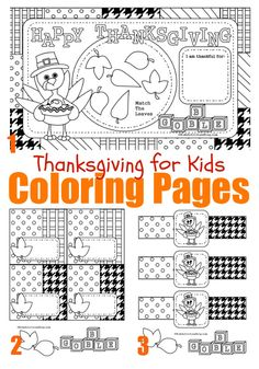 Thanksgiving Coloring Pages - super cute printable placemats, napkin rings and place cards {FREE}!